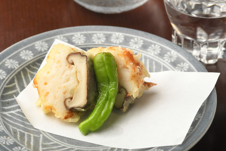 揚物:椎茸海老しんじょう揚げ